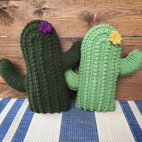 Crochet Cactus Pillow Pattern by A Crafty Concept