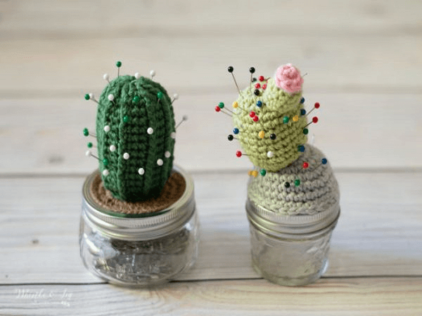 Crochet Cactus Pincushion Pattern by Whistle And Ivy