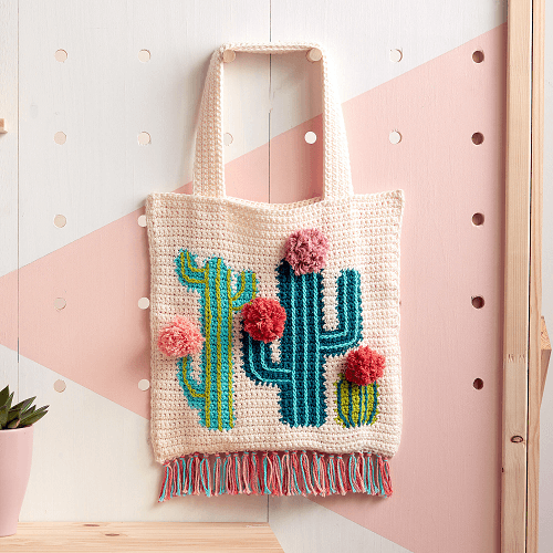 Crochet Cactus Tote Pattern by Yarnspirations