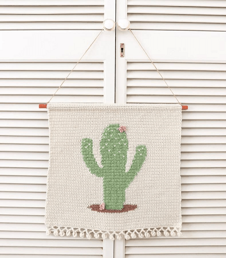 Crochet Cactus Wall Hanging Pattern by Thores By Cotttage