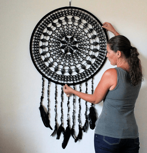 Crochet Diamond Hanging Dreamcatcher Pattern by Addicted 2 The Hook