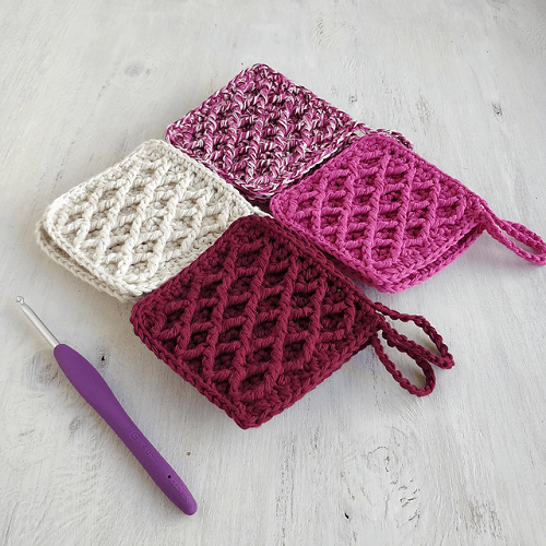Crochet Diamond Textured Scrubbies Pattern by Mother Bunch