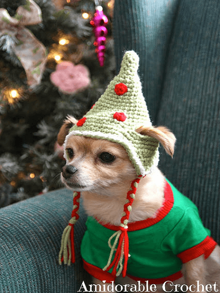 Crochet Dog Elf Hat Pattern by Amidorable Crochet