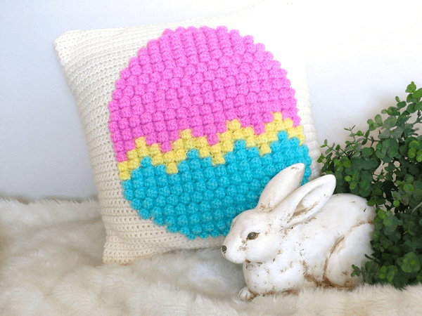 Crochet Easter Egg Pillow Pattern by Seacliffe Cottage