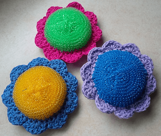 Crochet Flower Scrubbie Pattern by Wren Couture