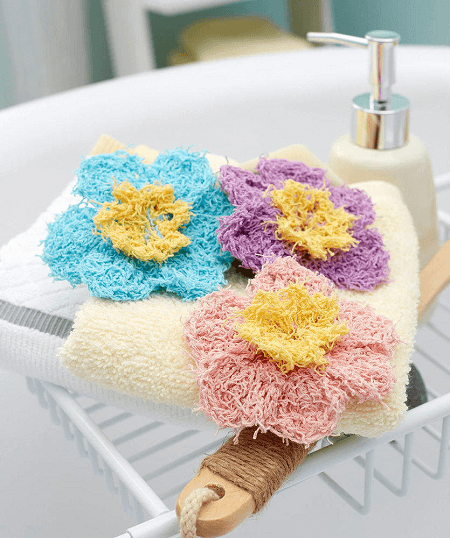 Crochet Flower Scrubbies Pattern by Carolyn Calderon