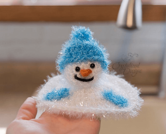 Crochet Melted Snowman Kitchen Scrubby Pattern by Crystalized Design