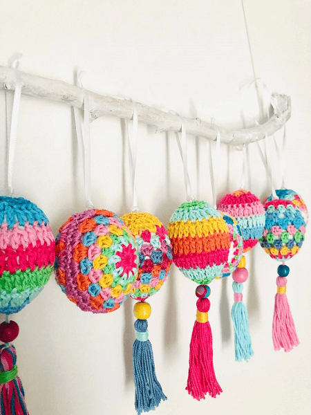 Crochet Pattern Boho Easter Eggs by Elealinda Design