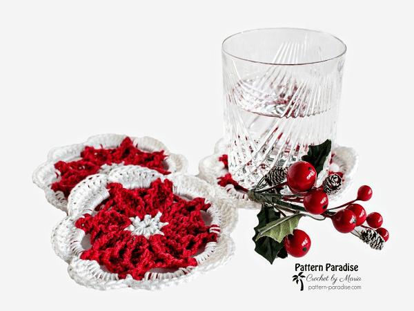Crochet Poinsettia Coasters Pattern by Pattern Paradise