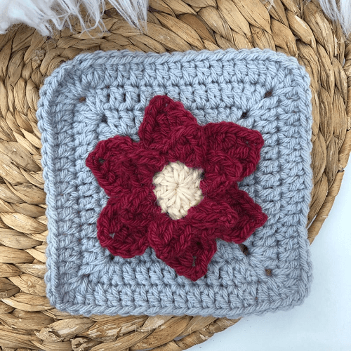 Crochet Poinsettia Granny Square Pattern by Sweet Sharna