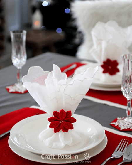 Crochet Poinsettia Napkin Ring Pattern by Craft Passion
