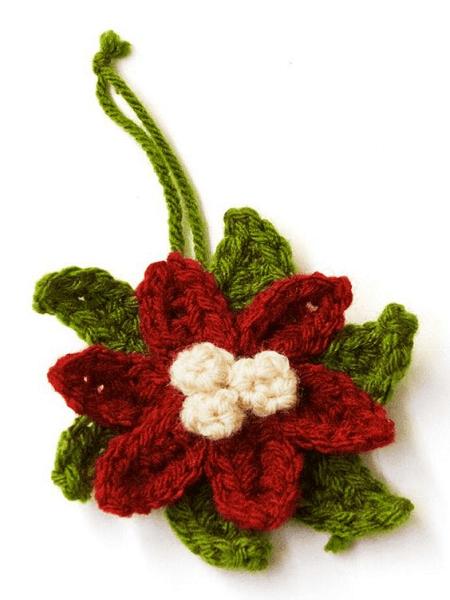 Crochet Poinsettia Ornament Pattern by Lion Brand Yarn