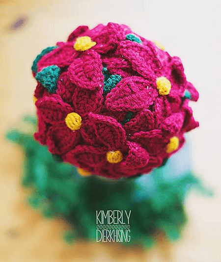 Crochet Poinsettia Topiary Pattern by Just Be Happy