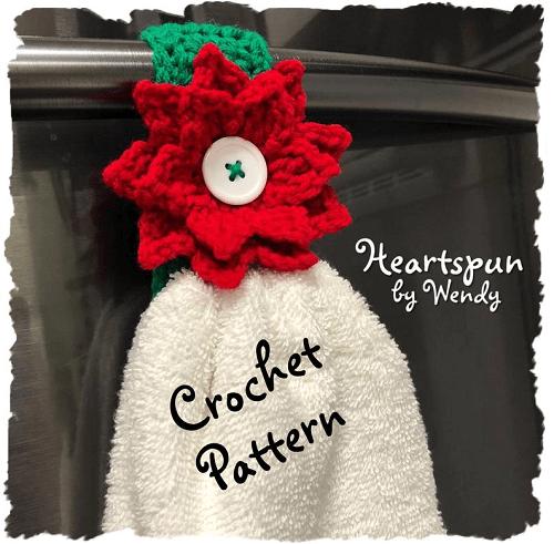 Crochet Poinsettia Towel Ring Pattern by Heartspun By Wendy