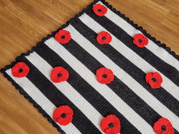 Crochet Poppy Flower Blanket Pattern by Crafting Happiness