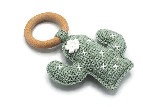 Crochet Rattle Cactus Pattern by KNUFL