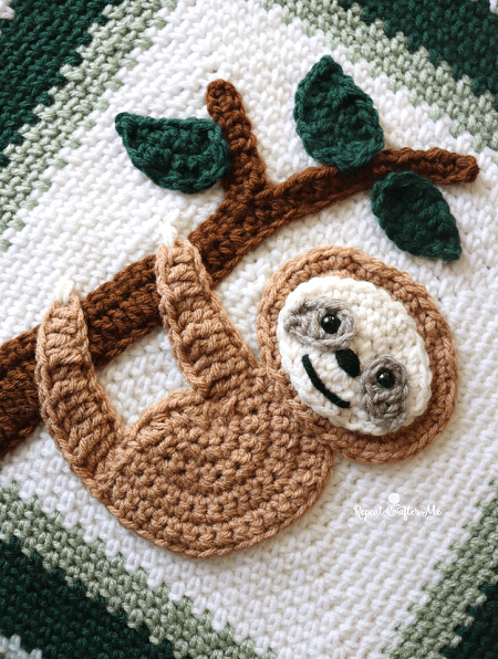 Crochet Sloth Applique Pattern by Repeat Crafter Me
