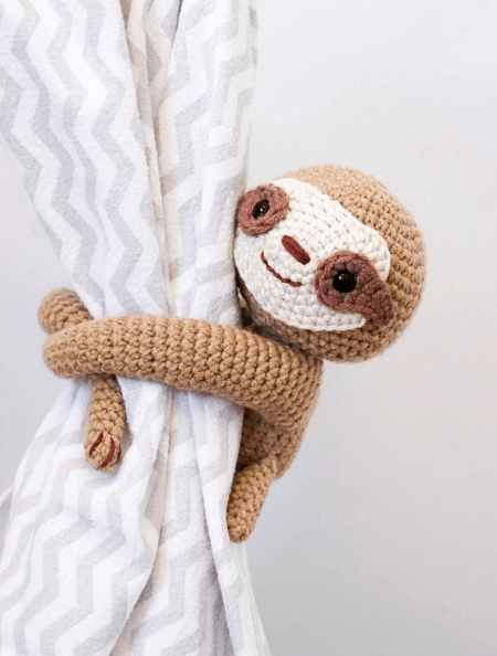 Crochet Sloth Curtain Tie Back Pattern by Thoresby Cottage