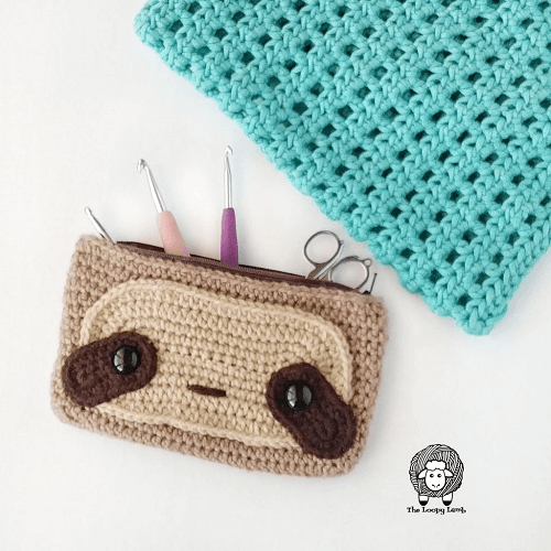 Crochet Sloth Hook Case Pattern by The Loopy Lamb