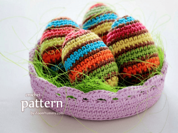 Crochet Striped Easter Eggs Pattern by Zoom Yummy