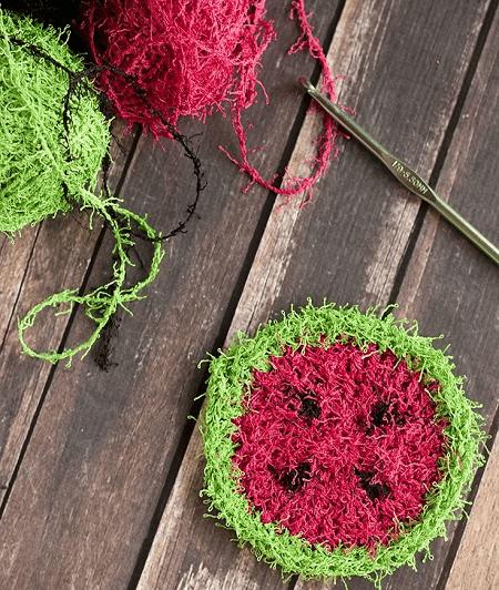 Crochet Watermelon Scrubbie Pattern by Midwestern Moms