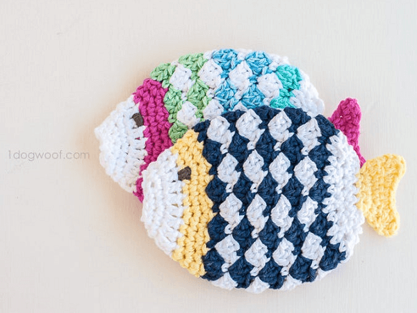 Fish Scrubbie Crochet Pattern by 1 Dog Woof