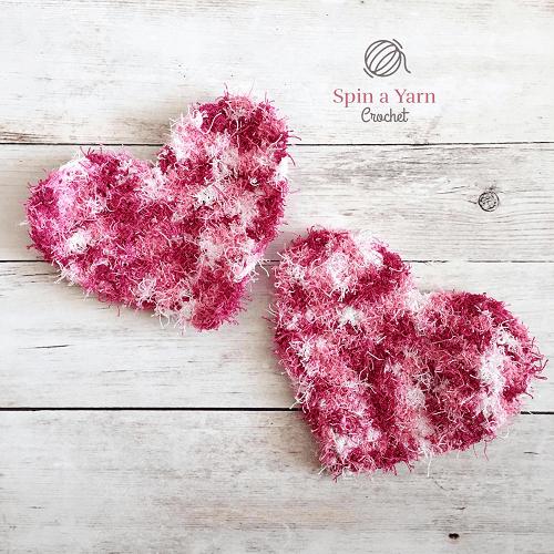 Heart-Shaped Dish Scrubby Crochet Pattern by Spin A Yarn Crochet