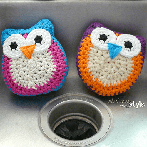Owl Dish Scrubbie Crochet Pattern by String With Style