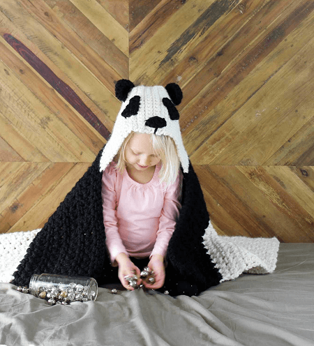 Panda Crochet Hooded Baby Afghan Pattern by Make And Do Crew