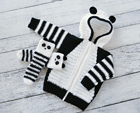 Panda Hoodie And Socks Crochet Pattern by MJ's Off The Hook Designs