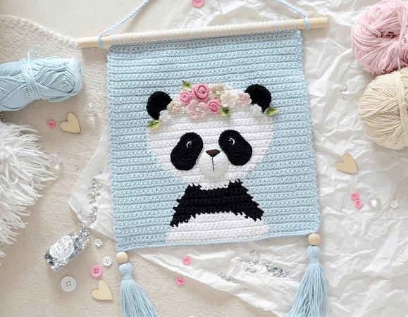 Panda Wall Hanging Crochet Pattern by Demi Deco Shop