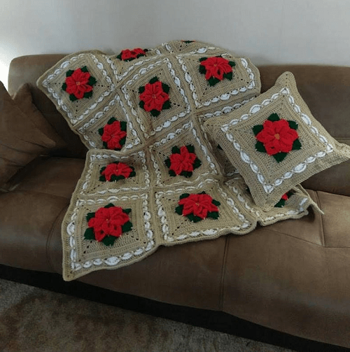 Poinsettia Blanket And Pillow Crochet Pattern by CD Creations Design