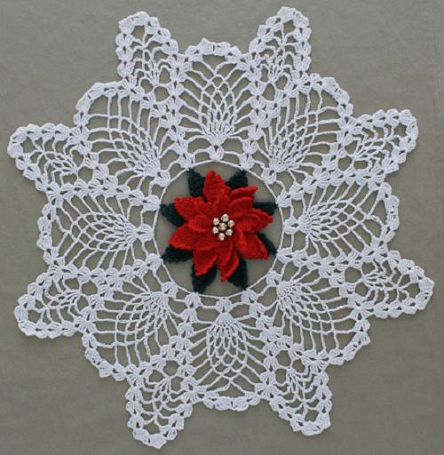 Poinsettia Doily Crochet Pattern by Maggie's Crochet