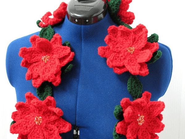Poinsettia Scarf Crochet Pattern by Donna's Crochet Designs