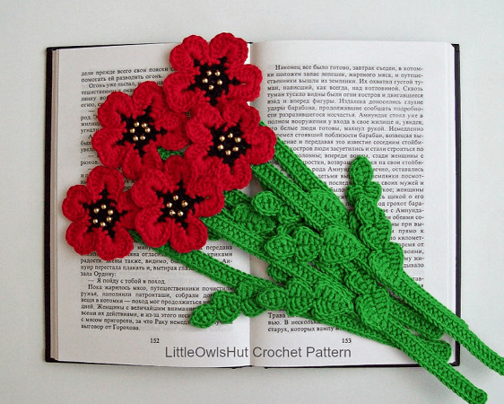 Poppy Flower Bookmark Crochet Pattern by Little Owls Hut