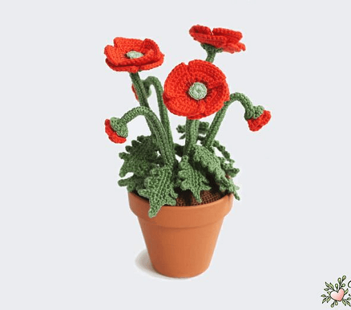 Pot Poppies Crochet Pattern by Renirumi