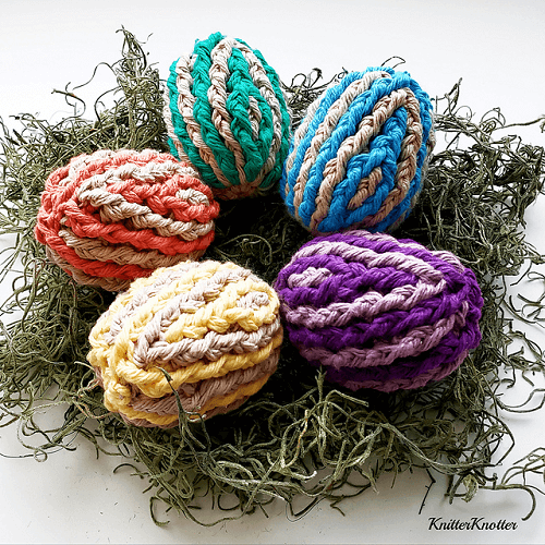 Ribbed Easter Eggs Crochet Pattern by Knitter Knotter