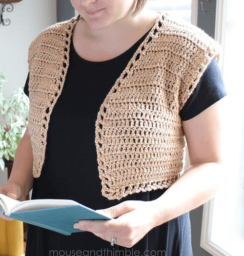 Shrug Vest Crochet Pattern by Mouse And Thimble