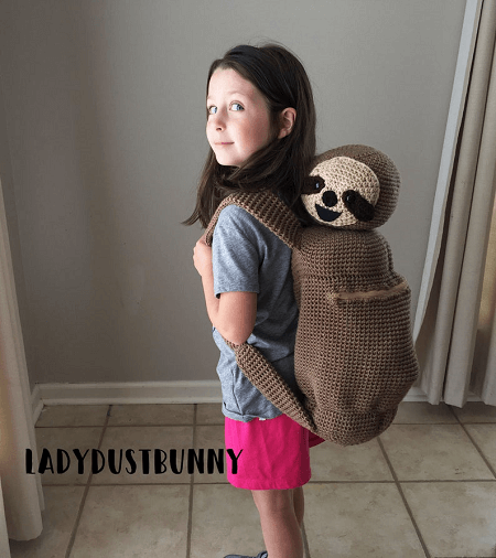 Sloth Backpack Crochet Pattern by Lady Dust Bunny