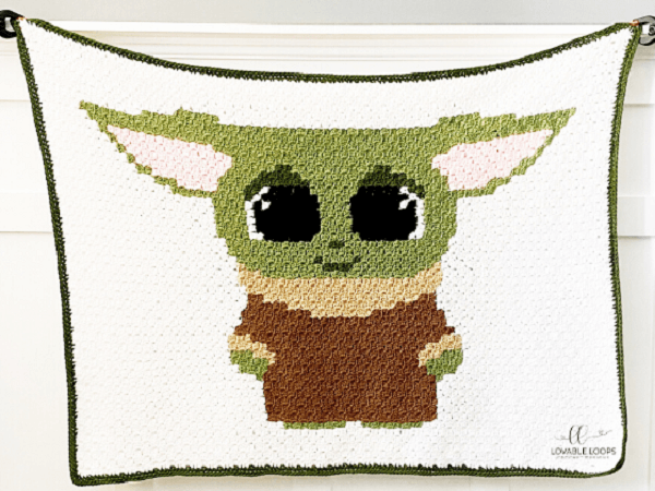 Baby Yoda Blanket Crochet Pattern by Lovable Loops