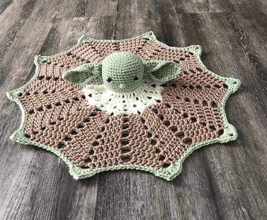 Baby Yoda Lovey Crochet Pattern by Polka Dots And Lady Bugs
