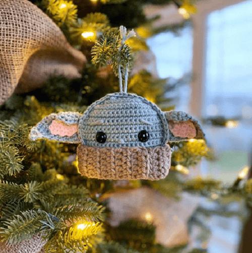 Baby Yoda Ornament Crochet Pattern by Spin A Yarn Crochet