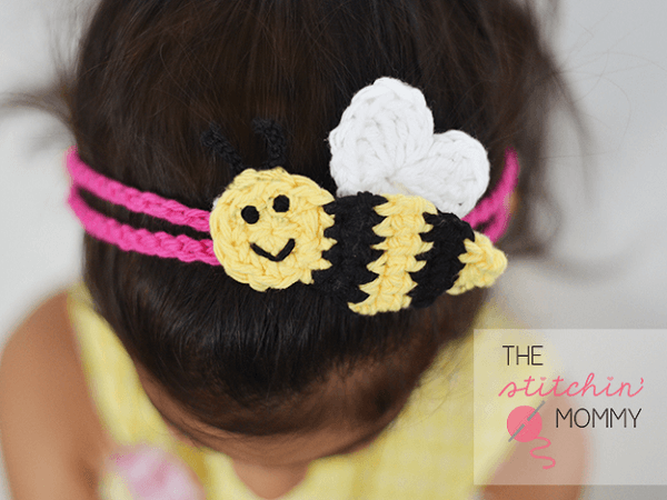 Bee Mine Headband Crochet Pattern by The Stitchin Mommy