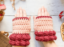 Bobble Fingerless Gloves Crochet Pattern by E Claire Makery