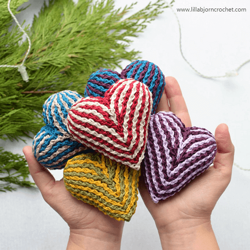 Brioche Heart Crochet Pattern by Lilla Bjorn Crochet
