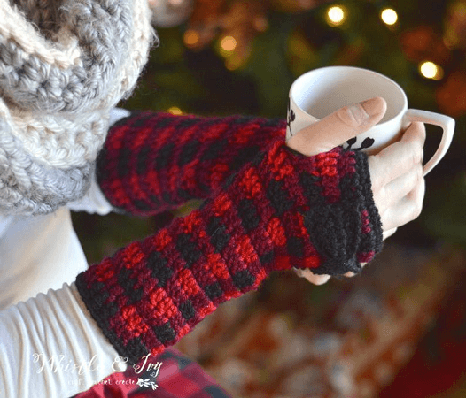Buffalo Plaid Fingerless Gloves Crochet Pattern by Whistle And Ivy