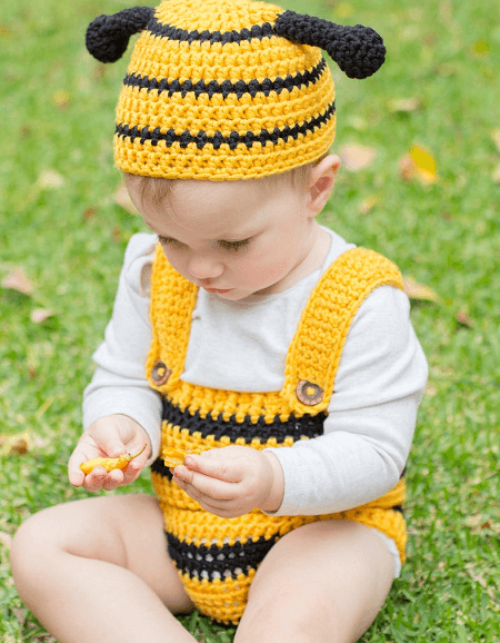 Bumble Bee Hat And Playsuit Crochet Pattern by Hopeful Honey Designs