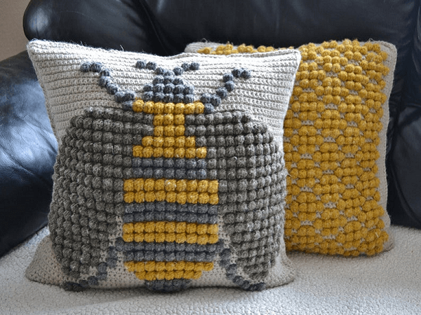 Bumble Bee Throw Pillow Crochet Pattern by While They Dream
