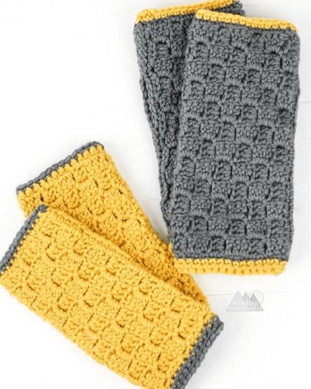 C2C Fingerless Gloves Crochet Pattern by Winding Road Crochet