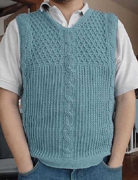 Cable Men's Vest Crochet Pattern by Even Howard